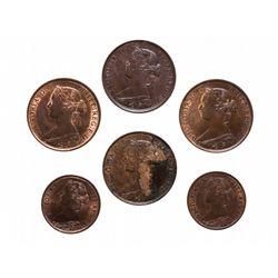 Nova Scotia. Half Cent.  1861, 1864.  One Cent.  1861,  1864.  New Brunswic…