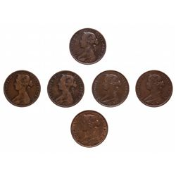 KEY DATE LOT.  One Cent. 1862.  Very Good-8, (3 pcs.);  Fine-12 to Fine-15 …