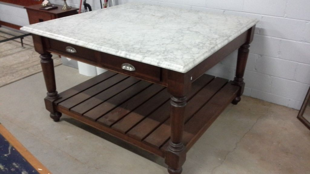 Large Marble Top Kitchen Island Table With Drawers On Both Ends 5 Feet X 5 Feet