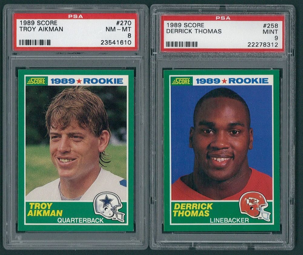 Lot Of 2 1989 Score Rookie Football Cards With 270 Troy Aikman Rc