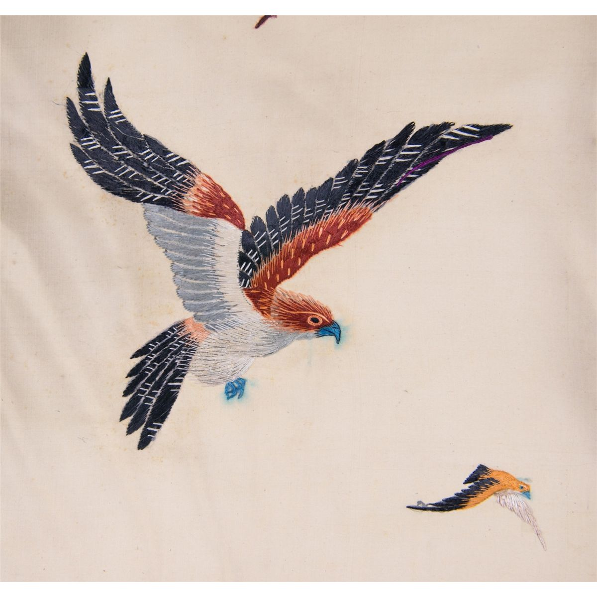 Japanese Embroidery Eagle Painting Scroll