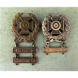 TWO WWII MARKSMAN BADGES-STERLING-2 W/SUBMACHINEGUN BAR