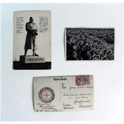 NAZI RALLY PIC + HINDENBURG PIC + WWI GERMAN POSTCARD