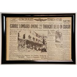 Carole Lombard Among 22 Thought Dead in Crash Newspaper