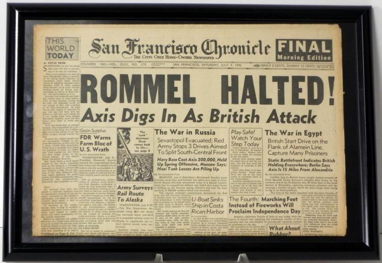 Image result for Rommel Halted - 1942 - newspaper