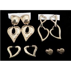 4 Diff Heart Shaped Gold Tone Earrings Pairs
