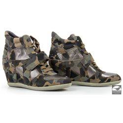 Hero Camouflage Wedge Sneakers worn by Miss Hannigan as portrayed by Cameron Diaz in Annie