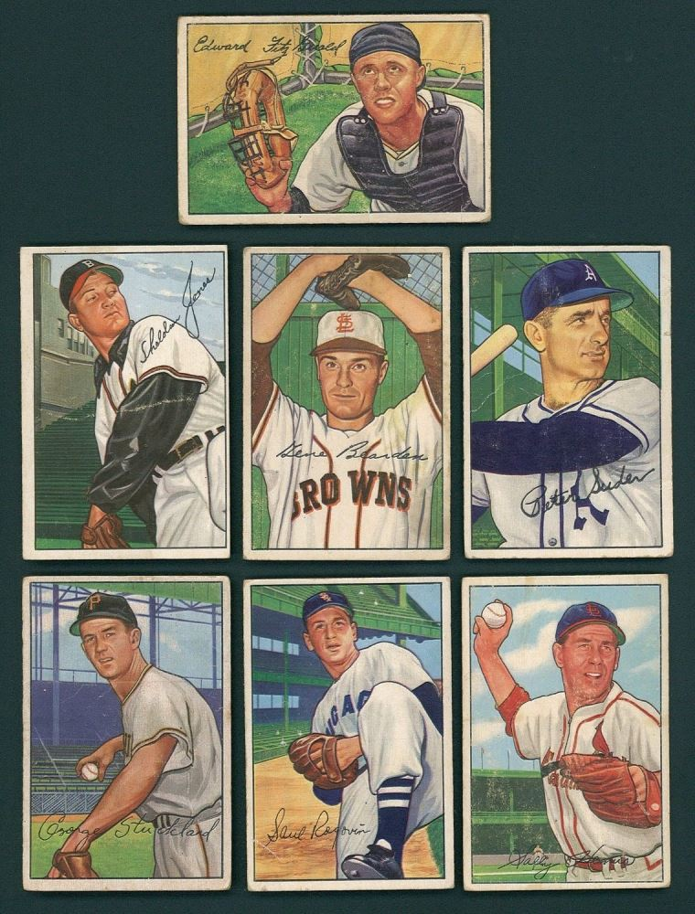 Lot Of 12 1952 Bowman Baseball Cards With Del Wilber Dee
