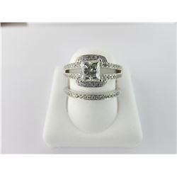 133-17014:14K white gold diamond engagement ring