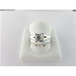 133-17036:18K white gold diamond engagement ring;.
