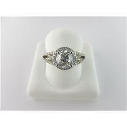 135-13970:14K white gold diamond engagement ring