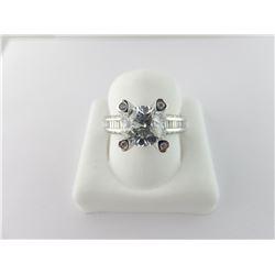 135-14076:14K white gold diamond engagement ring