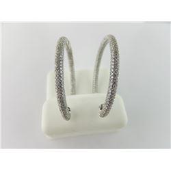 176-16663:14K white gold diamond hoop earrings
