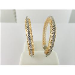 176-17487:14K white and rose gold hoop earrings