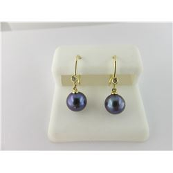 533-10571:10K yellow gold and black pearl earrings