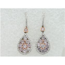 176-17022:18K white & rose gold pink earrings