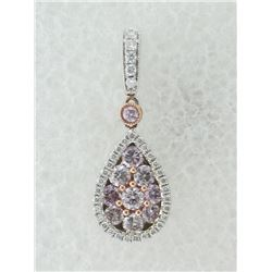 186-17177:18K white and rose gold pink pendant