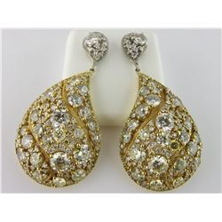 176-17549:18K white & yellow gold diamond earrings