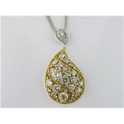 186-17945:18K white & yellow gold diamond pendant