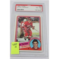 1984 TOPPS STEVE YZERMAN ROOKIE CARD PSA SCORED 8