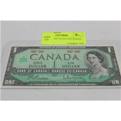 GEM UNC. 1967 NO S/N CENTENNIAL $1 NOTE