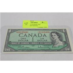 UNCIRC 1954 ASTERISK B/M REPLACEMENT $1 NOTE