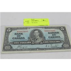 SCARCE 1937 $5 NOTE