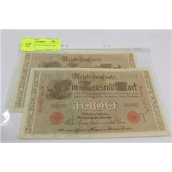 1910 CONSEC S/N GERMAN 1000 MARK NOTES X2