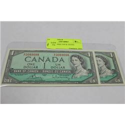 1954 CONSEC S/N $1 NOTES X2