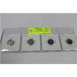 1911-12-13-14 GEORGE V SILVER 5 CENTS X4