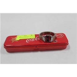 COLLECTIBLE COCA COLA  PEN TIN W/ COCA COLA WATCH