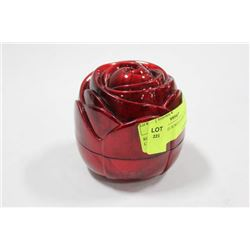 ROSE SHAPED JEWELLERY BOX W/ CONTENTS