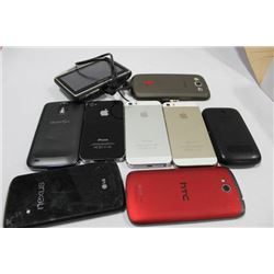 BOX OF VARIOUS CELL PHONES SUCH AS IPHONE, SAMSUNG