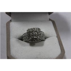 14K WHITE GOLD DIAMOND RING WITH JACKET, FEATURING