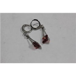 STERLING SILVER WITH RED GARNET EARRINGS