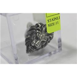 STAINLESS STEEL BIKER LION RING SIZE:11