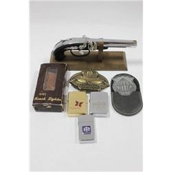 FLAT OF COLLECTIBLE LIGHTERS, BELT BUCKLE, ETC.