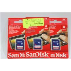 PACK OF 3- 8GB SANDISK CARDS