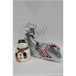 SNOWMAN COOKIE JAR SOLD WITH REINDEER DECORATIVE