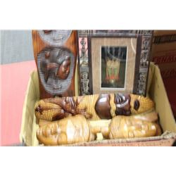 BOX OF WOODEN MASKS AND AFRICAN PICTURE