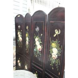 FOLDING WOOD ROOM DIVIDER, FLORAL ART