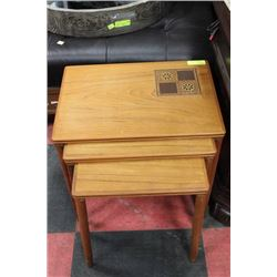 VINTAGE TEAK 3 PC NESTING TABLE