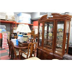 WOOD TABLE W 2 LEAVES /6 CHAIRS/ BUFFET AND HUTCH