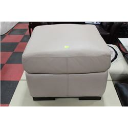OFF-WHITE LEATHER OTTOMAN