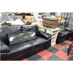 BLACK LEATHERETTE SOFA W LOVE SEAT