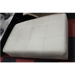 WHITE LEATHER RECTANGULAR OTTOMAN