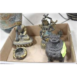 SET OF4 CAST BRONZE ASIAN PIECES