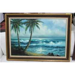 SIGNED VINTAGE WOOD FRAMED CANVAS: OCEAN/PALM TREE