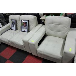 WHITE LEATHERETTE DESIGNER LOVE SEAT W CHAIR