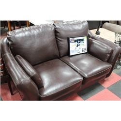 BROWN LEATHERETTE LOVE SEAT